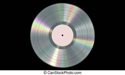 platine, enregistrement, vinyle, looped., réaliste, alpha, channel., iridescent, seamless, fond, noir