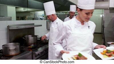 plats, chef cuistot, projection, sourire, deux