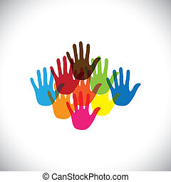 play-school, concept, coloré, &, ceci, graphic., avoir, illustration, tout petits enfants, amusement, gosses, vecteur, ensemble, together-, hand(palm), icons(signs), jouer, enfants, heureux