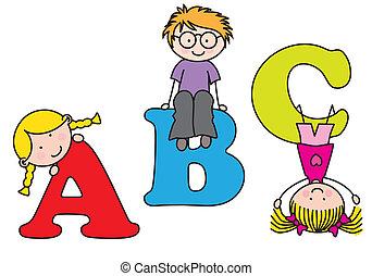 playing., alphabet, enfants