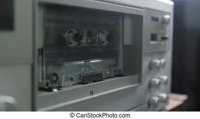 playing., joueur, cassette sonore