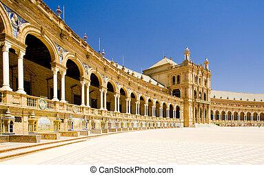 (plaza, carrée, de, andalousie, espana), espagnol, séville, espagne