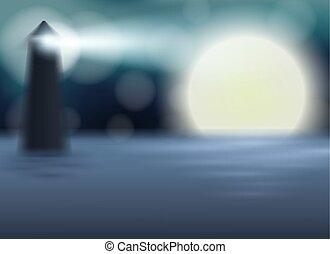 pleine lune, gabarit, nuit