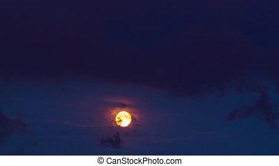 pleine lune, nuages, pluie, temps