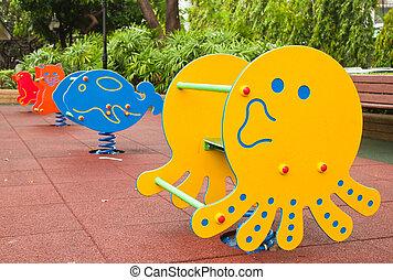 pleuvoir, après, parc, cour de récréation, coloré