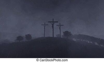 pleuvoir, défaillance, jésus, croix, temps, levers de soleil