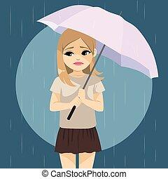 pleuvoir, girl, triste