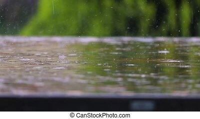 pleuvoir, parc, table
