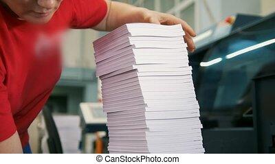 plis, ouvrier, typographie, papier, femelle transmet, piles