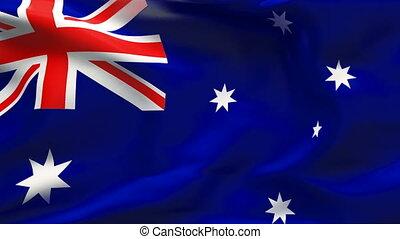 plissé, drapeau, australie, vent