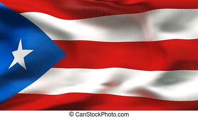plissé, portorico, drapeau, vent