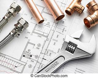 plomberie, équipement, plans, maison