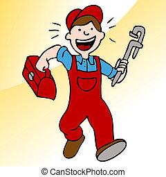 plombier, boîte outils, courant, clé