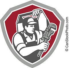 plombier, bouclier, clé, porter, boîte outils, retro