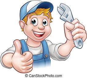 plombier, caractère, dessin animé, mécanicien, ou