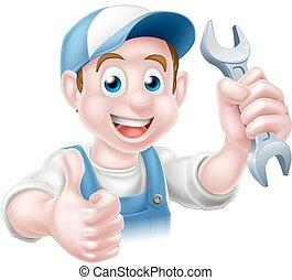 plombier, dessin animé, mécanicien, homme