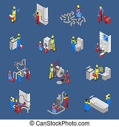 plombier, gens, icône, isométrique, ensemble