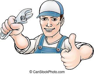 plombier, haut, dessin animé, pouces, mécanicien, ou