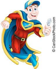 plombier, superhero, ou, mécanicien