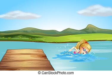 plongée, girl, plage, planche, natation