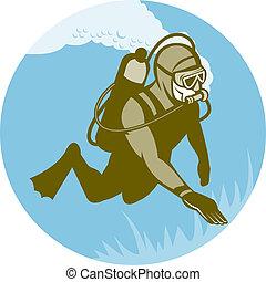 plongeur sous-marine, plongée