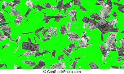pluie, 4k, 3d, 100, tomber, factures, dollar, animation, effet