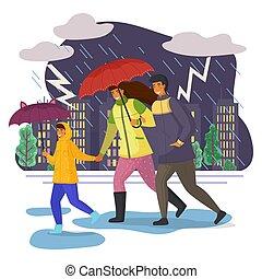 pluie, courant, flaques eau, famille, éclair, marche, par, parapluie, ciel