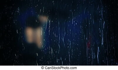pluie, fenêtre, lumières, voiture, distance, bokeh