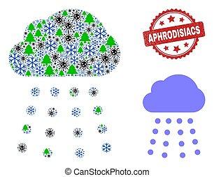 pluie, gelée, virus, icône, collage, nuage, timbre, aphrodisiacs, gratté, cachet