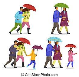 pluie, imperméables, porter, automne, blanc, marche, famille, saison, isolé, parapluie