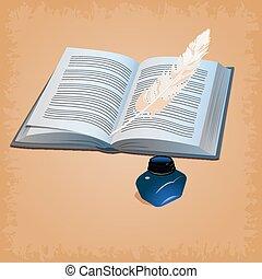 plume, livre, ouvert, stylo