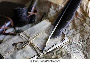 plume, papier, vieille lettre