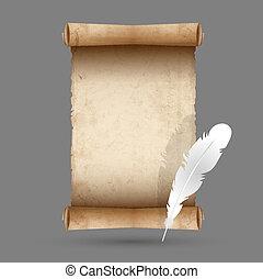 plume, papier, vieux, rouleau