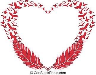 plume, voler, oiseaux, coeur, rouges
