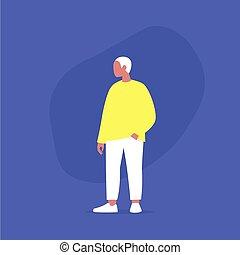 plus, désinvolte, modèle, corps mâle, movement., porter, vêtements, taille, positif