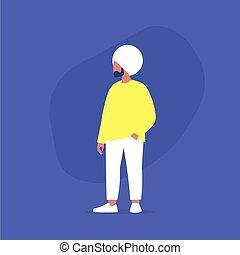 plus, désinvolte, modèle, corps mâle, porter, vêtements, taille, indien, positif, mouvement