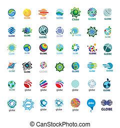plus grand, logos, globe, vecteur, collection