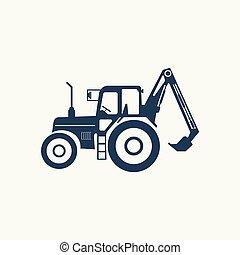 plus haut, tracteur, lift., icône