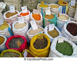 plusieurs, jordanie, marché, épices