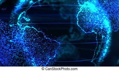 plusieurs, pixels, videos., business, concept., flares., mondiale, dof, appareil photo, stylisé, numérique, voler, age., autour de, soleil, technologie, moderne, la terre
