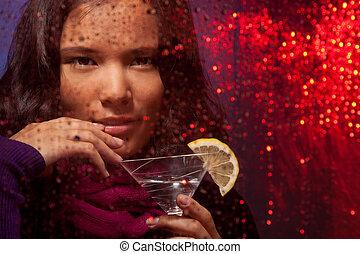 pluvieux, femme, boisson, temps, séduisant, froid, asiatique