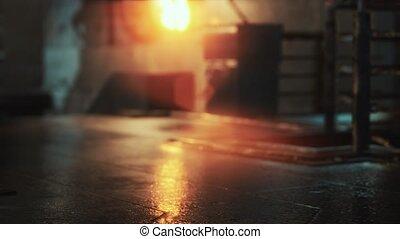 pluvieux, lumières, nuit, néon