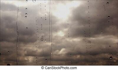pluvieux, nuages, voler, haut, jeûne, par, orage, fenêtre, fin, vue