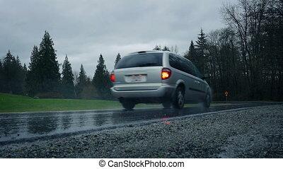 pluvieux, parking, conduit, par, jour