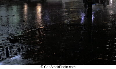 pluvieux, route, transport, nuit