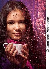 pluvieux, tasse, thé, temps chaud, froid