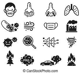 p.m., vecteur, poussière, 2.5, micro, icons., illustrations.