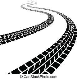 pneus, enroulement, vecteur, trace