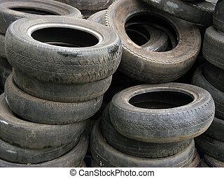 pneus, vieux, fond