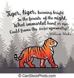 poème, blake, vieux, affiche, tigre, illustration, bengale, william, arrière-plan., vecteur, forêt, double, brumeux, design., template., exposition